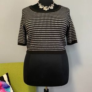 Torrid Black White Dot Knit Cropped Sweater 2